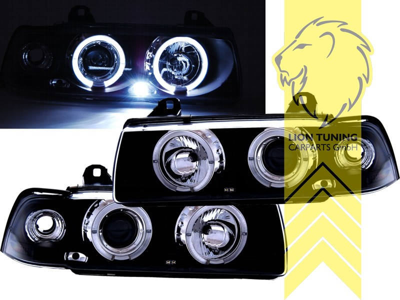 led angel eyes scheinwerfer f r bmw e36 limousine touring. Black Bedroom Furniture Sets. Home Design Ideas