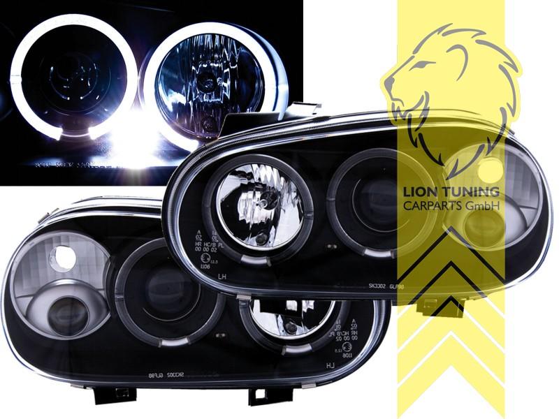 led angel eyes scheinwerfer f r vw golf 4 limousine. Black Bedroom Furniture Sets. Home Design Ideas