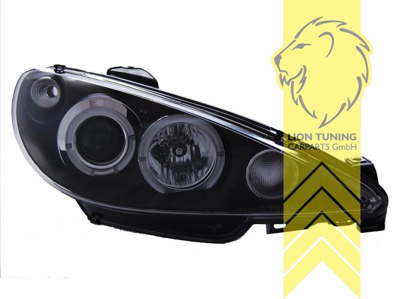 led angel eyes scheinwerfer f r peugeot 206 206cc cabrio sw break schwarz f r h4 ebay. Black Bedroom Furniture Sets. Home Design Ideas