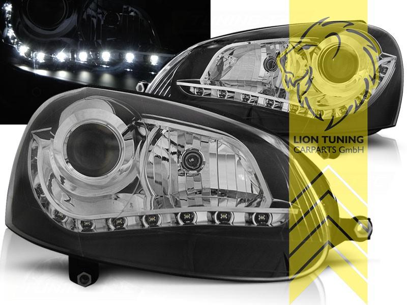 led tagfahrlicht optik scheinwerfer f r vw golf 5 limousine variant schwarz ebay. Black Bedroom Furniture Sets. Home Design Ideas