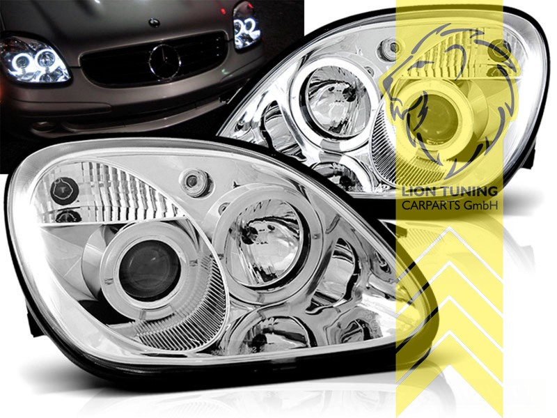 led angel eyes scheinwerfer mercedes benz slk r170 chrom. Black Bedroom Furniture Sets. Home Design Ideas
