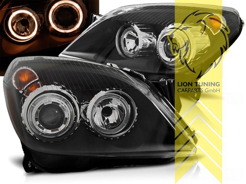 depo angel eyes scheinwerfer f r opel astra h schwarz ebay. Black Bedroom Furniture Sets. Home Design Ideas