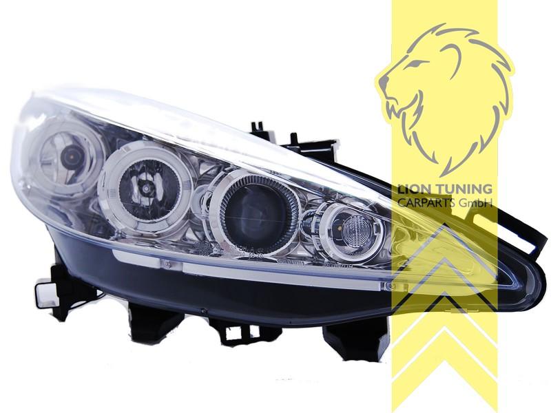 led angel eyes scheinwerfer f r peugeot 207 207cc cabrio. Black Bedroom Furniture Sets. Home Design Ideas