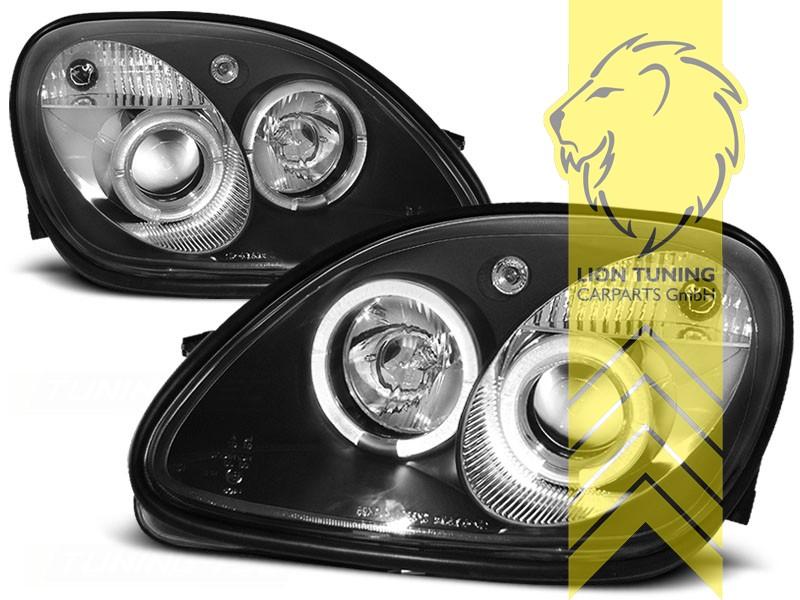 Led Angel Eyes Scheinwerfer Für Mercedes Benz Slk R170 Schwarz Ebay