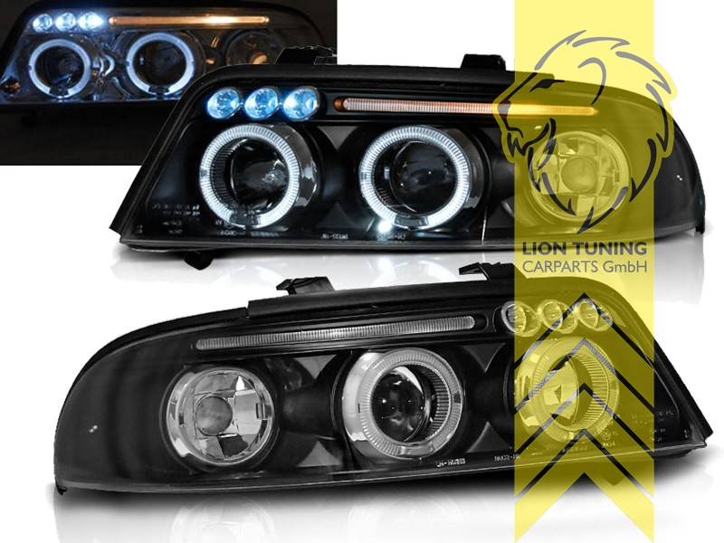 led angel eyes scheinwerfer f r audi a4 b5 8d limousine. Black Bedroom Furniture Sets. Home Design Ideas